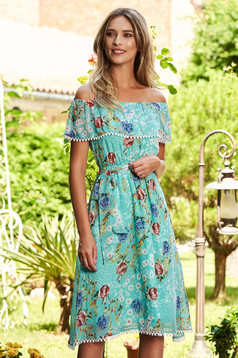 Turquoise dress daily cloche midi from veil fabric elastic waist naked shoulders with floral print