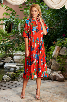 Red dress daily flared midi with floral print without clothing folded up