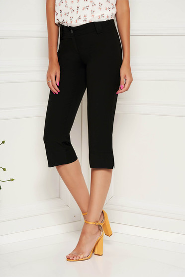 Pantaloni StarShinerS negri casual din bumbac 3/4 conici cu talie medie