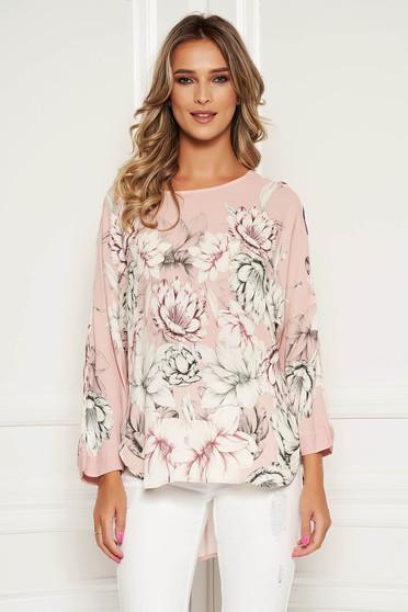 Bluza dama StarShinerS roz deschis eleganta cu croi larg imprimeu floral decolteu rotunjit si maneci trei-sferturi