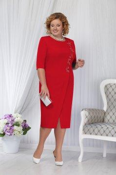 Rochie rosie eleganta de ocazie cu un croi drept midi cu umerii buretati si decupata pe picior