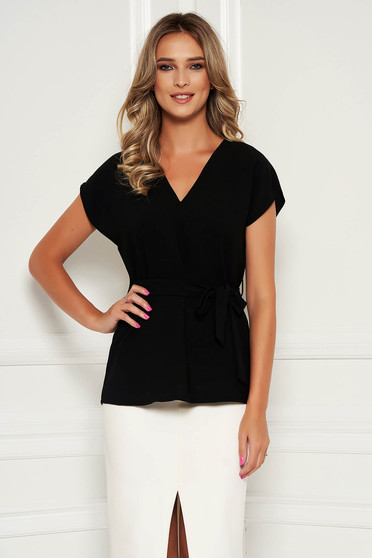 Bluza dama StarShinerS neagra eleganta cu croi larg cordon detasabil cu decolteu in v