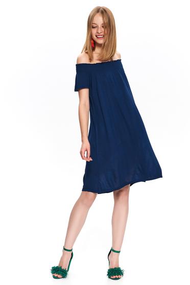 Rochie Top Secret albastru-inchis casual scurta cu croi larg si umeri goi