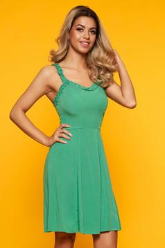 Rochie SunShine verde casual scurta cu decolteu adanc