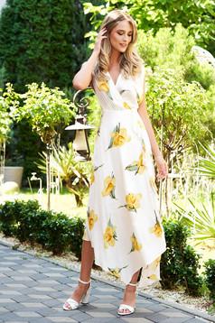 Rochie SunShine alba de zi asimetrica petrecuta cu imprimeu floral si nasturi