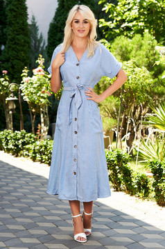 Blue dress daily midi cloche cotton linen with stripes with v-neckline