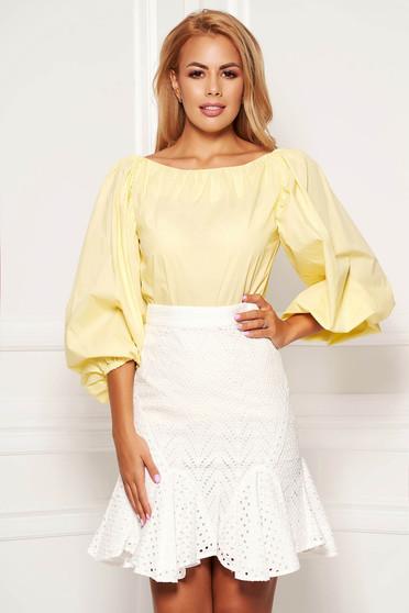 Bluza dama SunShine galbena casual scurta din bumbac cu croi larg cu maneci bufante si spatele gol