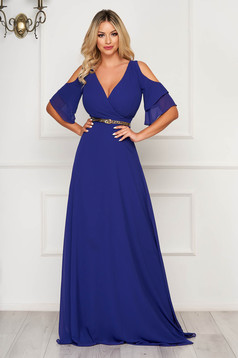 Blue dress occasional long cloche with v-neckline both shoulders cut out from veil fabric