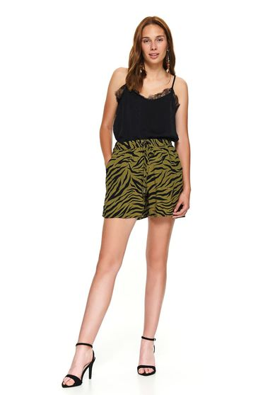 Pantalon scurt Top Secret khaki casual animal print cu croi larg cu talie medie