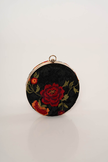 Geanta dama Top Secret neagra eleganta din dantela cu imprimeu floral cu maner lung tip lantisor