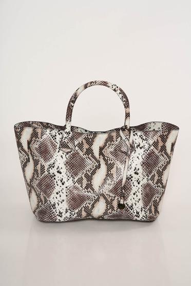 Geanta dama maro casual cu manere de lungime medie si imprimeu snake print