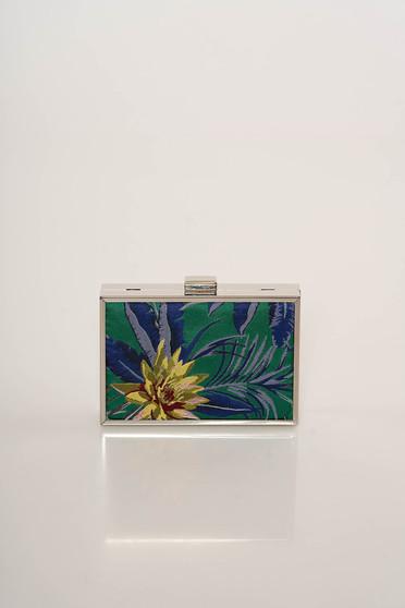 Geanta dama Top Secret verde de ocazie cu maner lung tip lantisor cu imprimeu floral