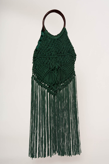 Geanta dama Top Secret verde casual cu franjuri manere rotunde din lemn captusita pe interior