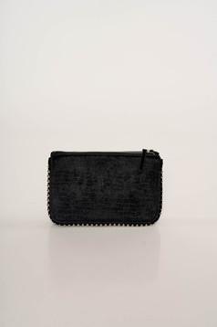 Geanta dama Top Secret neagra plic eleganta din catifea snake print