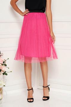 Fusta SunShine roz casual midi cu elastic in talie din tul