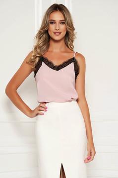 Top SunShine roz prafuit casual scurt cu croi larg cu aplicatii de dantela si bretele subtiri