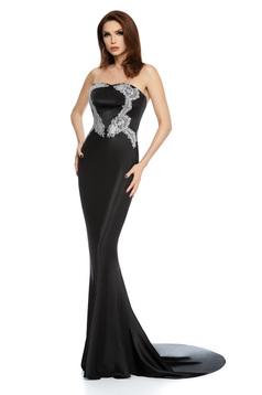 Rochie neagra lunga de ocazie tip sirena din satin