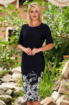 Rochie albastru-inchis midi eleganta din material reiat cu un croi drept si maneci scurte
