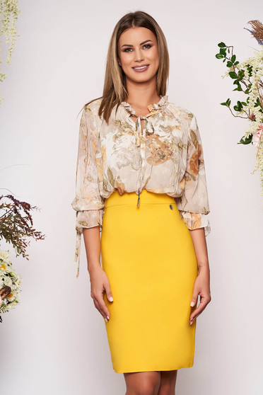 Rochie galbena eleganta midi tip creion cu maneci trei-sferturi cu imprimeu floral din voal