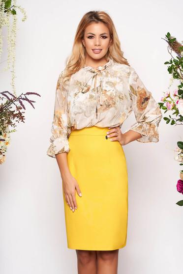Rochie galbena eleganta midi tip creion din voal cu maneci trei-sferturi si imprimeu floral