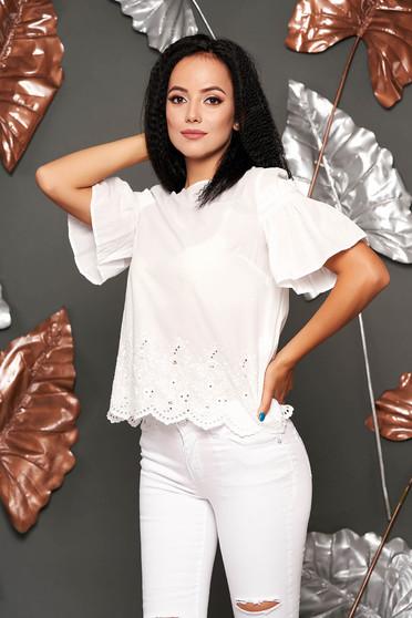 Bluza dama SunShine alba casual cu croi larg din bumbac cu aplicatii de dantela