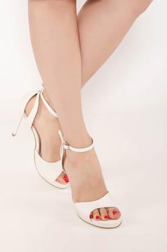 Sandale albe elegante din piele naturala cu toc inalt si barete subtiri