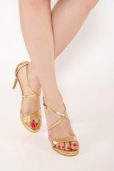 Sandale aurii elegante din piele naturala cu barete subtiri