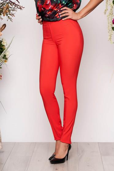 Pantaloni LaDonna corai office conici cu talie medie din material usor elastic cu buzunare false