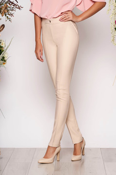 Cream trousers office with medium waist conical slightly elastic fabric with faux pockets