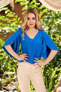 Bluza dama LaDonna albastra casual cu croi larg cu decolteu in v cu maneci decupate