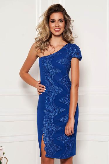 Rochie albastra scurta eleganta de ocazie tip creion cu bust buretat pe umar