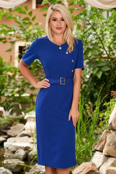 Rochie albastra de zi midi tip creion cu maneci scurte decolteu la baza gatului si curea inclusa