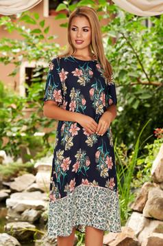 Rochie albastru-inchis midi de zi cu croi larg din voal cu maneci scurte si imprimeu floral