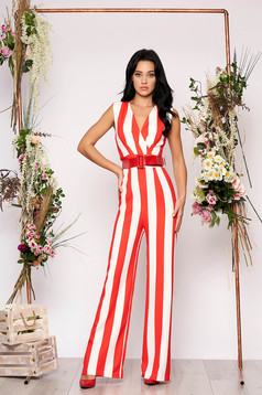 Coral jumpsuit elegant with stripes flared sleeveless accessorized with belt with v-neckline