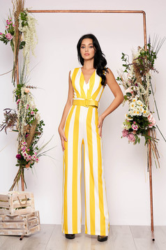 Yellow jumpsuit elegant with stripes flared sleeveless accessorized with belt with v-neckline