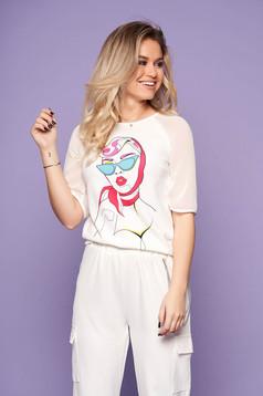 Bluza dama StarShinerS ivoire eleganta scurta cu maneci din voal cu imprimeu grafic customizat