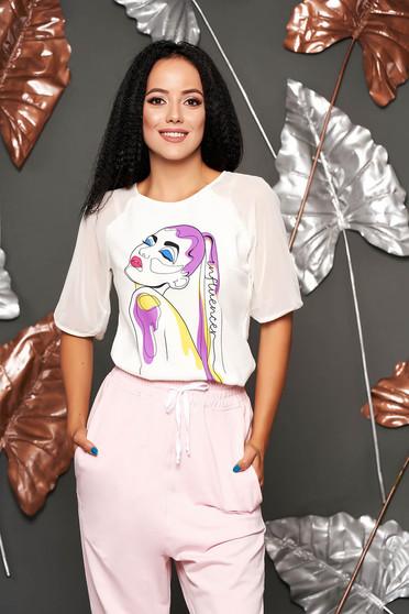 Bluza dama StarShinerS ivoire eleganta cu croi larg cu maneci din voal si imprimeu grafic customizat