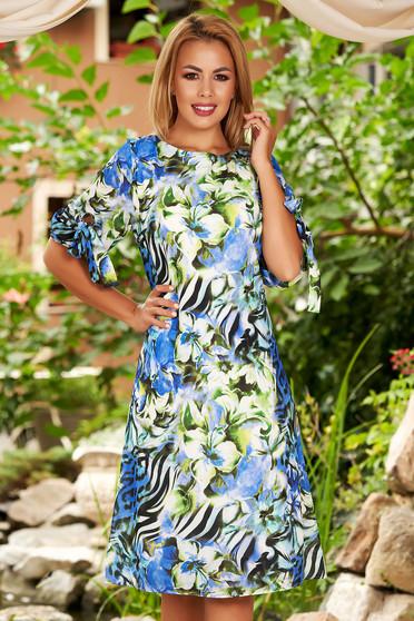 Rochie albastra de zi midi din voal cu croi in a cu imprimeu floral si maneci prinse in elastic
