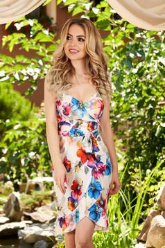 Rochie alba de zi in clos cu bretele fusta petrecuta si imprimeu floral