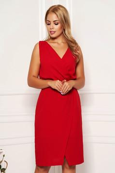 Rochie StarShinerS rosie de zi cu un croi drept fusta petrecuta fara maneci cu decolteu in v
