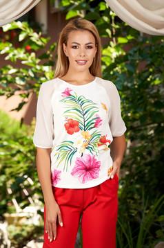 Bluza dama StarShinerS ivoire eleganta cu croi larg cu maneci din voal si imprimeu floral