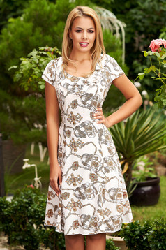 White dress daily cloche short sleeves frilly trim around cleavage line with graphic details