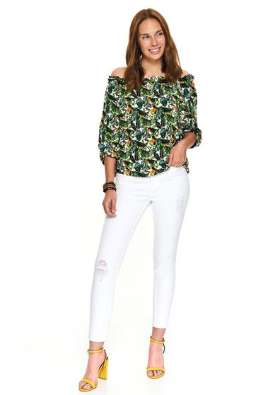 Bluza dama Top Secret alba casual cu croi larg pe umeri cu imprimeuri grafice