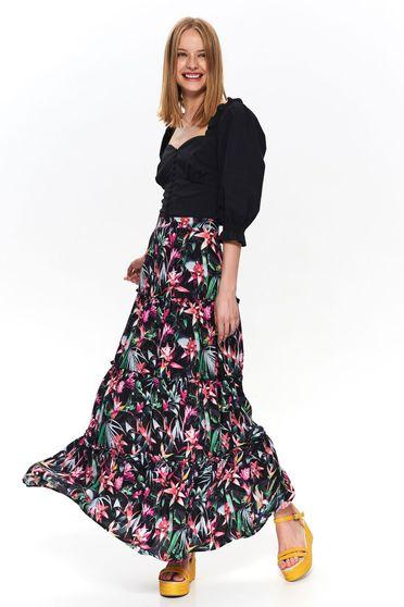Bluza dama Top Secret neagra casual cu maneci trei-sferturi bufante