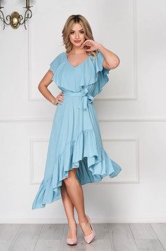 StarShinerS mint dress daily midi asymmetrical from veil fabric with v-neckline frilly trim around cleavage line