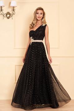 Rochie LaDonna neagra eleganta de ocazie lunga plisata in clos cu bust buretat si buline