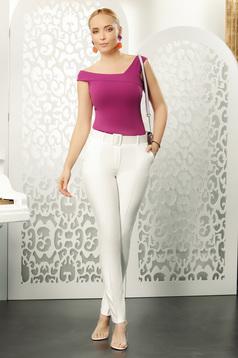 Pantaloni Fofy albi eleganti cu talie medie si croi drept cu accesoriu tip curea