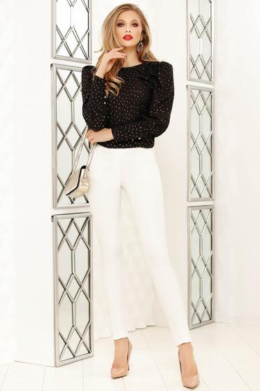 Pantaloni Fofy albi eleganti cu un croi drept cu talie medie si accesoriu tip curea