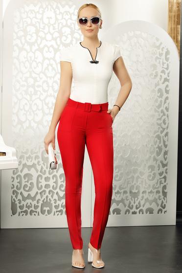 Pantaloni Fofy rosii eleganti cu talie medie cu un croi drept cu accesoriu tip curea