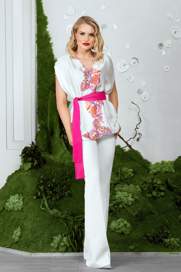 Pantaloni PrettyGirl albi eleganti lungi cu talie medie si croi larg